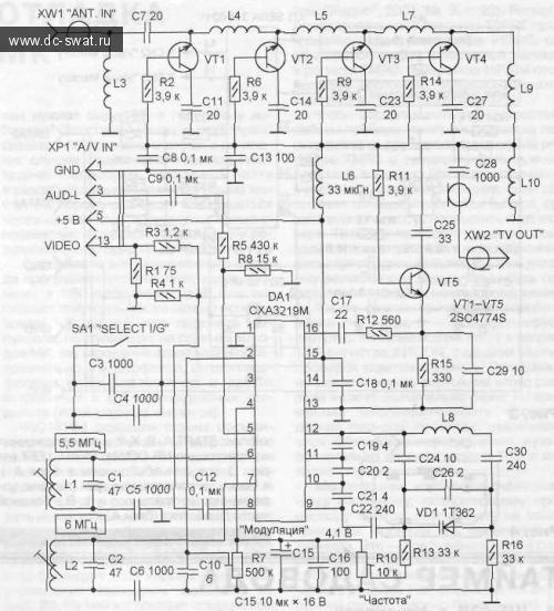 модулятора — вилку XW2,