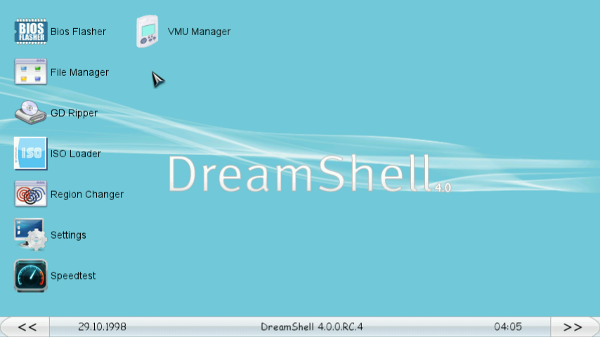 DreamShell 4.0 RC 4 - Main app (desktop) widescreen
